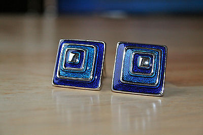 Thomas Pink Cufflinks / Silver Blue Square / Cuff links / Gift Pouch