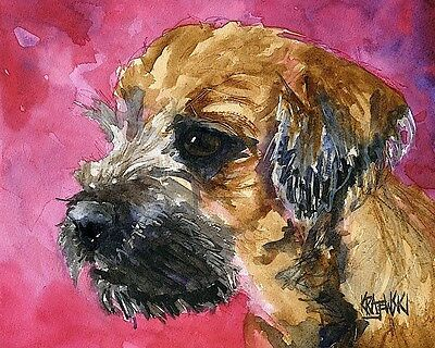 Border Terrier Dog 11x14 signed art PRINT RJK painting