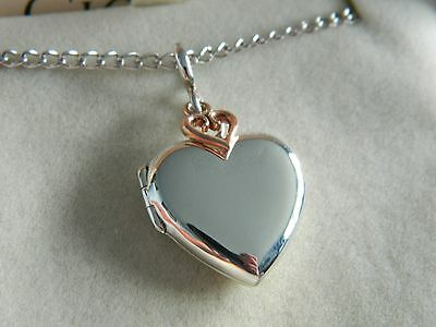 Clogau Sterling Silver & 9ct Rose Welsh Gold Heart Locket RRP £189.00