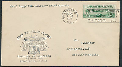 Zeppelin Chicagofahrt 1933 USA-Post ab Chicago (S13774)