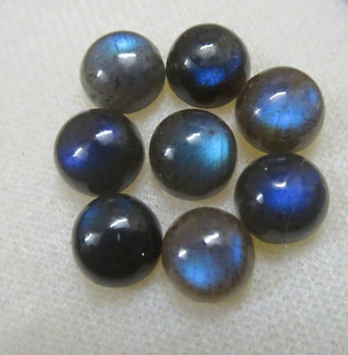 A PAIR OF 8mm ROUND CABOCHON-CUT NATURAL AFRICAN LABRADORITE GEMSTONES