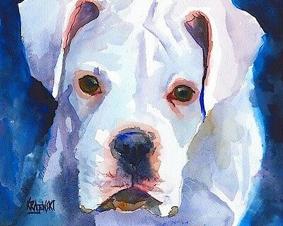 White Boxer Dog 11x14 signed art PRINT RJK from painting