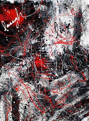 Large Abstract Painting Red Black White Modern Art Signed Original Tara Baden