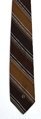 Men's New Neck Tie, Classic, Skinny, Brown striped design by Etienne Aigner