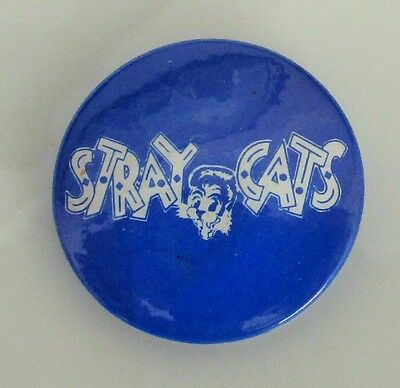 STRAY CATS VINTAGE METAL BUTTON BADGE FROM THE 1980's ROCKABILLY BRIAN SETZER