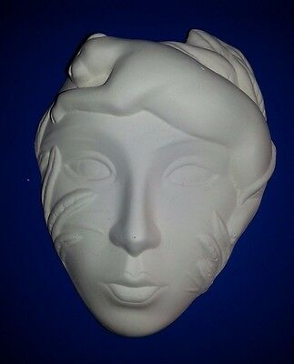 """Ceramic bisque Wild cat/jungle mask. 6.5""""/170mm approx. To glaze or paint"""