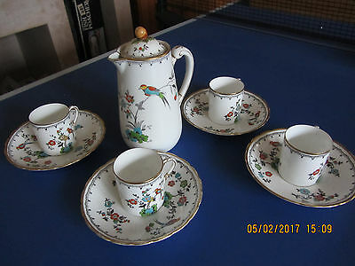 Vintage  Plant Tuscan China Bird Of Paradise Coffee Pot & Cups