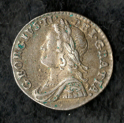 """George II Maundy Penny Silver 1753 """" 3 over 2 """" in date"""
