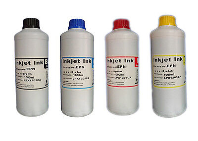 Inchiostro 4 Flaconi Kit Ricarica Da 1000Ml Per Stampanti Epson Brother Hp Canon