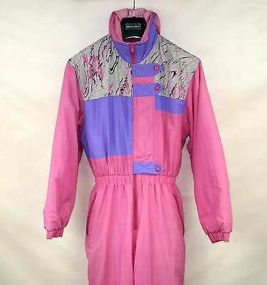 Vintage Retro Womens  Ski Suit One Piece Eu-46 All In One Pink Snow Suit Italy