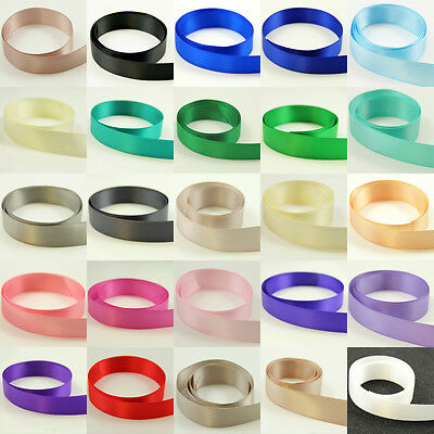 HIGH QUALITY DOUBLE SIDED SATIN RIBBON 6mm - 38mm *26 COLOURS & 8 SIZES* WEDDING