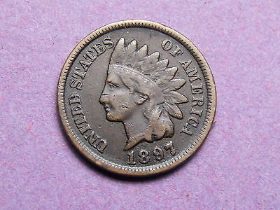 United States  Indian Head Cent 1897 , F , Darker Toned