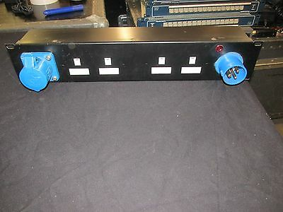 """19"""" rack Mains Distribution Unit / distro 16a 1P in, 16a 1p out, 10 x 13amp"""