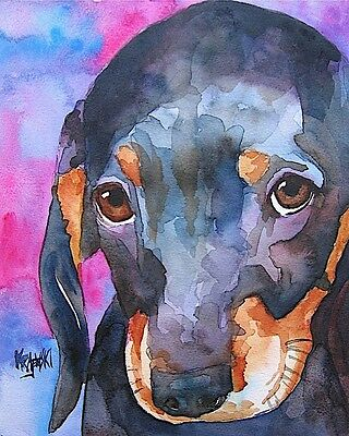 Dachshund Dog 11x14 signed art PRINT from painting RJK