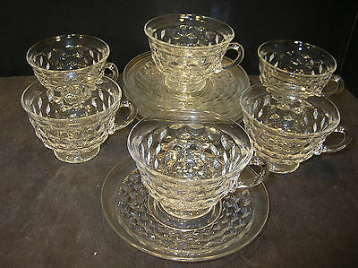"""SET of 6 FOSTORIA AMERICAN CUPS and 5 2/3"""" SAUCERS"""