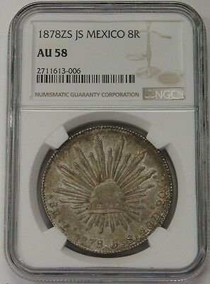 Mexico - 1878 ZS JS - Silver 8 Reales - NGC AU 58