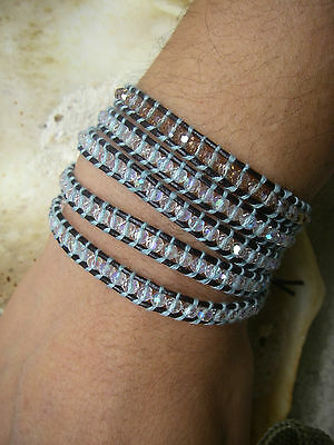 5 wrap bracelet perles cristales clear & smoky crystal beads cuir brown leather