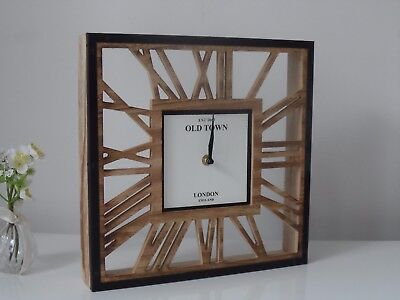 Large Square Vintage London Wood Cut Out Roman Skeleton Wall or Mantel Clock