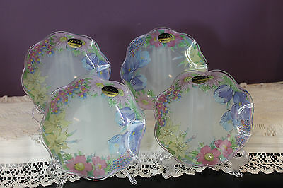 "Set Of 4 Soga Glass 6"" Low Ruffled Floral Bowls  With Frosted Back"