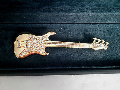 Vintage Gold Plated Large Statement Guitar Brooch Broach Pin
