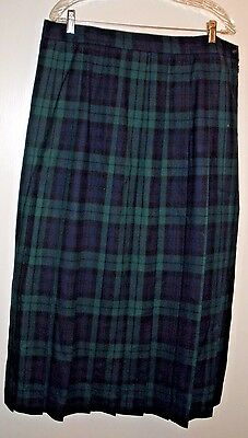 Vintage L. L. Bean Lined Blue/Green Pleated Plaid Wool Skirt - Size 20