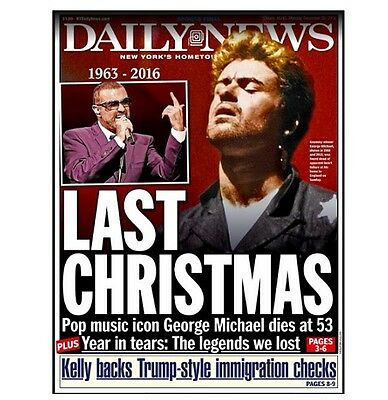 George Michael Dead New York Daily News 12/26/16
