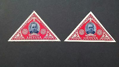 Lithuanian 1933 5 centas airmail stamps - Perf and Imper issues - mint l/hinged