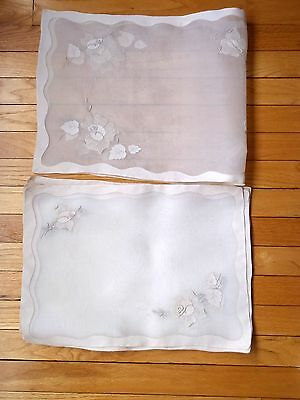 9 Pc Vintage MADEIRA Linen ORGANDY Hand Embroidered Placemats Runner Roses Ecru