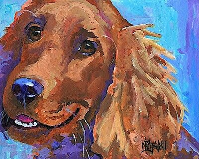 Irish Setter 11x14 art PRINT RJK from painting, Gifts, Poster, Memorial, Picture