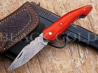 AQ-KNIVES Custom Handmade DAMASCUS FOLDING  KNIFE F-13. GET  1 FOLDER FREE....