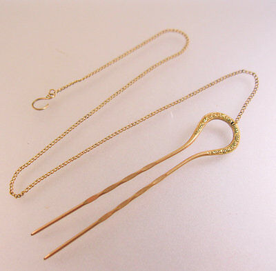 Antique Spectacles 10k Gold Filled Eyeglasses Hair Pin Clip On Chain