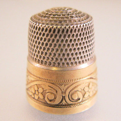 SIMONS Bros. Thimble Sterling Silver & 10k Gold Size 9 Antique