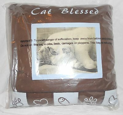 """Cat Blessed Embroidered Pillow MIP 14""""x14"""" Insert Your Cats Photo  NEW"""