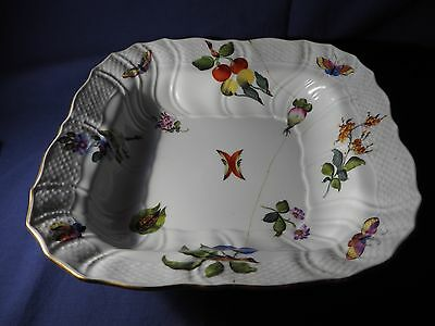Herend Hungary Floral/Insect China Porcelain Square Fruit Serving Bowl 1181