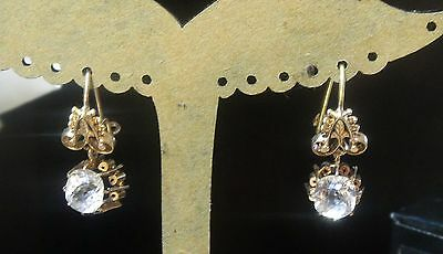 14k Rose Gold Antique Victorian 2.50ct Mine Cushion Cut Diamond Paste Earrings