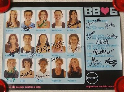 Channel 10 Big Brother 2006 Poster - Hand Signed By Housemates