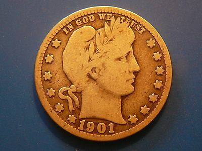 1901-P Barber quarter in G-VG condition