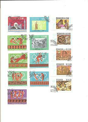 Lot Of 1  Pages With 14 Different Ecuador Stamps On Album Pages,all Nmc