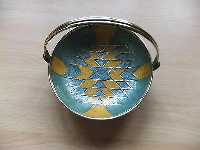 Vintage Solid Brass & Enamel Dish With Handle