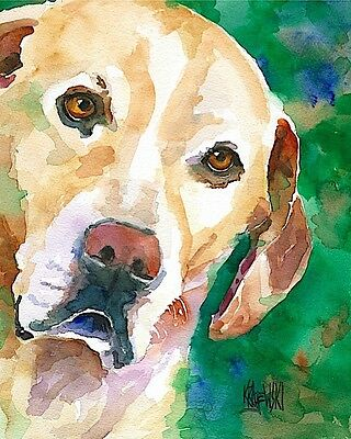 Labrador Retriever 11x14 signed art PRINT RJK painting Yellow Lab