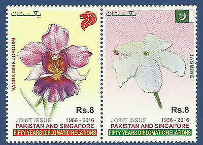 Pakistan 2016 Joint Issue With Singapore. Flowers Jasmine & Orchids.