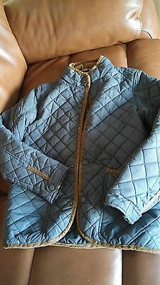 Next Boys Quilted Coat / Jacket. Age 10. Teal blue brown cord