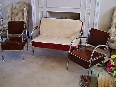 VINTAGE 3 pc. DECO SETTEE (LLOYD?) and CHAIR SET - CHROME LEGS - 1940's - 50's