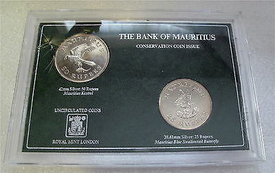 1975 Mauritius Conservation series KESTREL 25 - 50 Rupees silver coin set