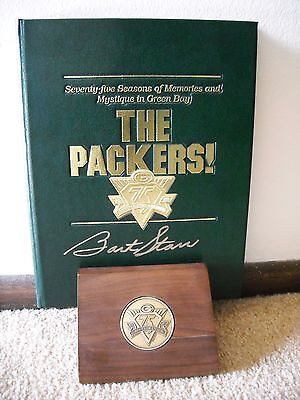 Rare Bart Starr Double Signed Packers 75Th Anniversary Book Nitschke Lombardi