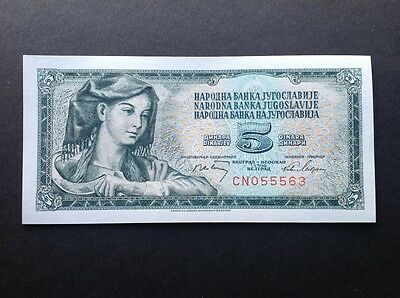 Yugoslavia uncirculated banknote for 5 Dinara dated 1968.