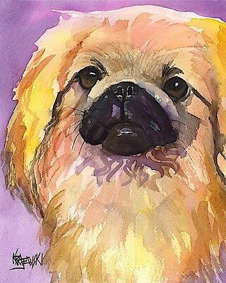 Pekingese Dog 11x14 signed art PRINT RJK painting