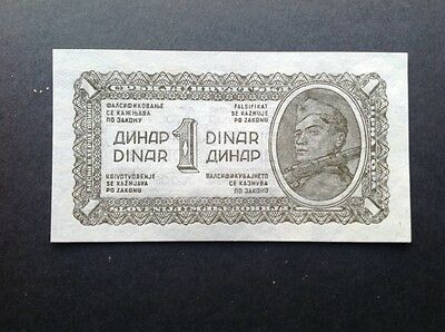 Yugoslavia banknote for 1 Dinara dated 1943.