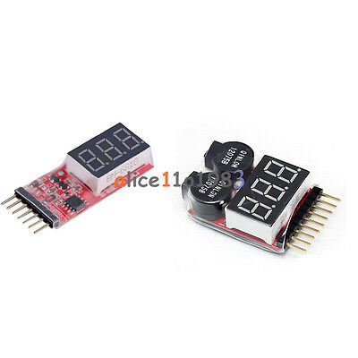 2-6S 1-8S Indicator Lipo Li-ion Battery Voltage Tester Voltage Buzzer Monitor US