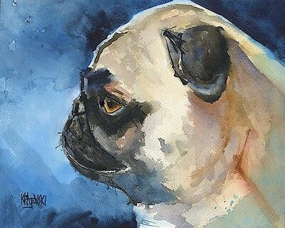 Pug Dog 11x14 signed art PRINT RJK from painting